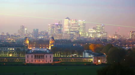 greenwich : LONDON, UK - OCTOBER 31, 2015: Canary Wharf night panorama. View includes Royal chapel and Painted hall in Greenwich