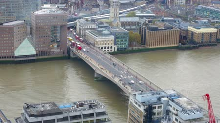 LONDON, UK - NOVEMBER 4, 2015: View of City of London. view from the 35 floor includes London bridge and River Thames Vídeos