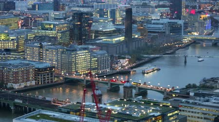 LONDON, UK - NOVEMBER 4, 2015: Night view of City of London. view from the 35 floor includes Tower bridge and River Thames Vídeos