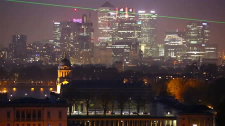 LONDON, UK - OCTOBER 31, 2015: Canary Wharf night view with painted hall and Royal chapel Vídeos