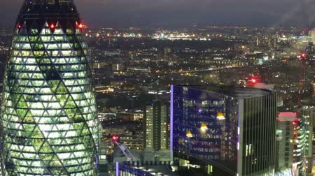 london england : LONDON, UK - NOVEMBER 4, 2015: Night view of office building in the City of London. view from the 35 floor