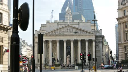 LONDON, UK - September 20, 2015: City of London Stock exchange building and Bank of England square
