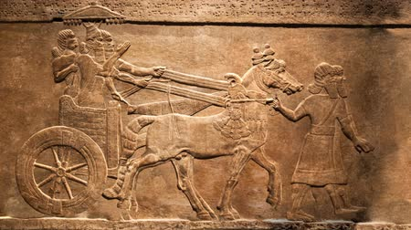 Kings hunt. Animated, moving effect of relief from Palace of Assurbanipal in Nineveh, Assyria Vídeos