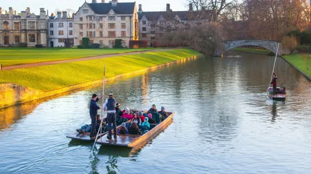 hall : CAMBRIDGE, UK - JANUARY 18, 2015: River Cam and tourists boats