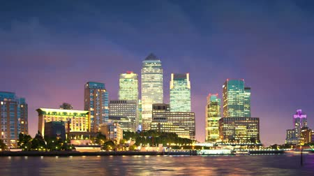 londra : Canary Wharf panoramic view, London Stok Video