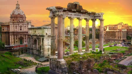 Ruins of Romans forum at sunset, ancient government buildings started 7th century BC. Rome
