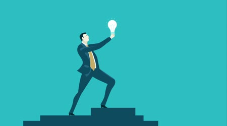 metaphors : Businessman staying on top of the stairs and raising up the light bulb as symbol of idea and innovation