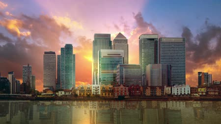 Canary Wharf business and banking aria of London at sunset. London UK