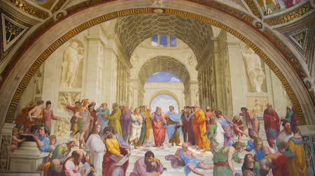 eflatun : Rome, Italy. The School of Athens, Raphael rooms in Museums of Vatican. Stok Video