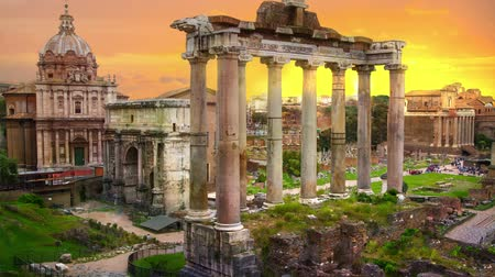 Ruins of Romans forum at sunset, ancient government buildings started 7th century BC. Rome. Italy