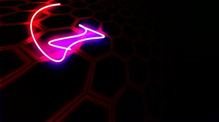 amalucado : abstract silhouette of a dancing neon arrows Stock Footage