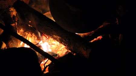şenlik ateşi : campfire Stok Video