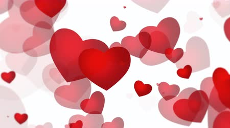 glorious : Animation romantic red hearts on white background. Luxury and elegant dynamic style template for Valentines day Stock Footage