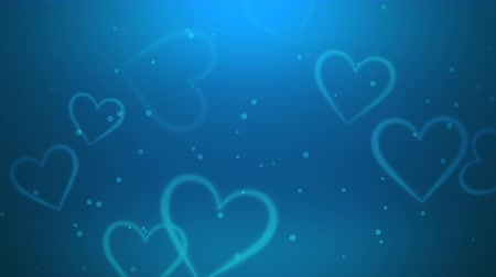 glorious : Animation romantic blue hearts on shiny background. Luxury and elegant dynamic style template for Valentines day