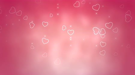 glorious : Animation romantic pink hearts on shiny background. Luxury and elegant dynamic style template for Valentines day Stock Footage