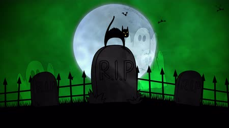 надгробная плита : Halloween background animation with the cat on grave. Luxury and elegant dynamic style for holiday template