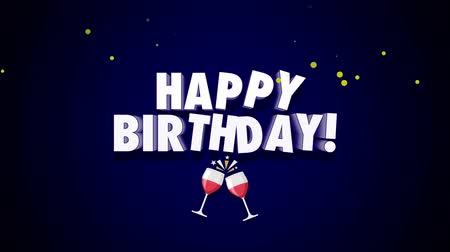 glorious : Animated close up Happy Birthday text on dark blue background. Luxury and elegant dynamic style template for holiday Stock Footage