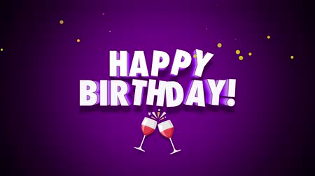 glorious : Animated close up Happy Birthday text on purple background. Luxury and elegant dynamic style template for holiday