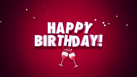 glorious : Animated close up Happy Birthday text on red background. Luxury and elegant dynamic style template for holiday