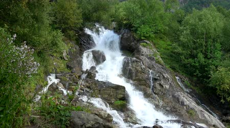 vodopád : View waterfall scenes in mountains, national park Dombai, Caucasus, Russia. Summer landscape, sunshine weather and sunny day Dostupné videozáznamy