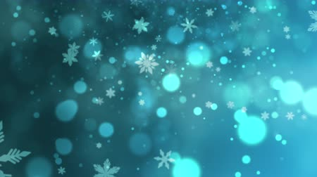 glorious : White snowflakes, stars and abstract bokeh particles falling. Happy New Year and Merry Christmas shiny background. Luxury and elegant dynamic style template for a winter holiday Stock Footage