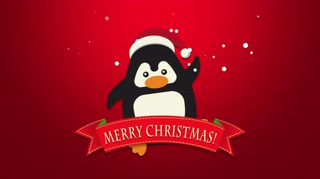 glorious : Animated close up Merry Christmas text, funny penguin waving on red background. Luxury and elegant dynamic style template for a winter holiday