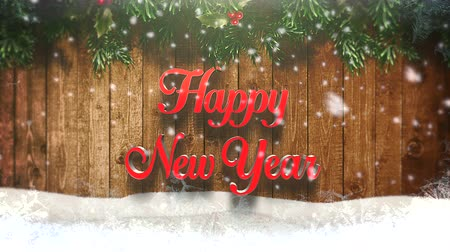 glorious : Happy new year text on wood background. Luxury and elegant dynamic style template for a winter holiday Stock Footage