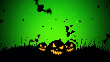 korku : Halloween background animation with the bats and pumpkins. Luxury and elegant dynamic style for holiday template Stok Video