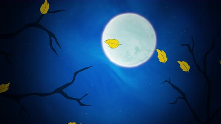 luar : Halloween background animation with the leaves and moon. Luxury and elegant dynamic style for holiday template