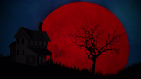 büyülü : Halloween background animation with the house and moon. Luxury and elegant dynamic style for holiday template