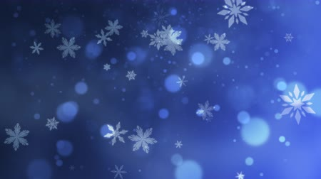 selamlar : Abstract blue bokeh and snowflake falling. Happy New Year and Merry Christmas shiny background. Luxury and elegant dynamic style template for winter holiday Stok Video
