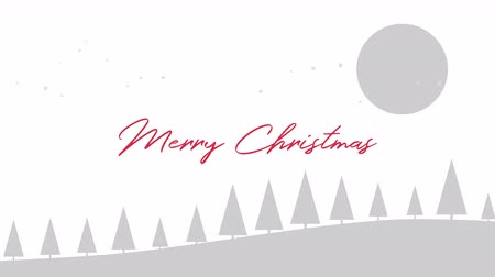 glorious : Animated closeup Merry Christmas text, mountains, forest and snowing landscape. Luxury and elegant dynamic style template for winter holiday
