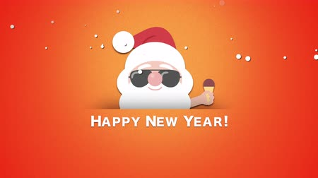 tempo de natal : Animated closeup Happy New Year text, Santa Claus with ice cream. Luxury and elegant dynamic style template for winter holiday
