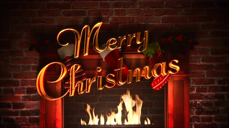 hearth : Animated closeup fireplace, gifts in the Christmas socks and Merry Christmas text on bricks background. Luxury and elegant dynamic style template for winter holiday