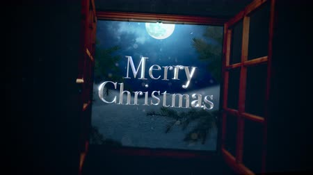 floco : Animated closeup Merry Christmas text with open window, away mountains and moon landscape. Luxury and elegant dynamic style template for winter holiday Vídeos