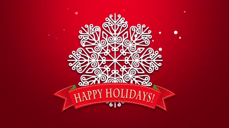 glorious : Animated closeup Happy Holidays text, white snowflakes on red background. Luxury and elegant dynamic style template for winter holiday