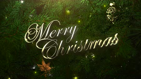 glorious : Animated closeup Merry Christmas text, colorful balls and green tree branches on shiny background. Luxury and elegant dynamic style template for winter holiday