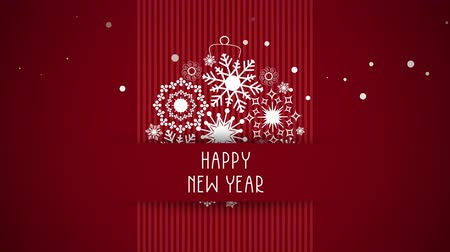 glorious : Animated closeup Happy New Year text, white snowflakes on red background. Luxury and elegant dynamic style template for winter holiday