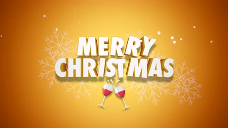 шампанское : Animated closeup Merry Christmas text on yellow background. Luxury and elegant dynamic style template for winter holiday Стоковые видеозаписи