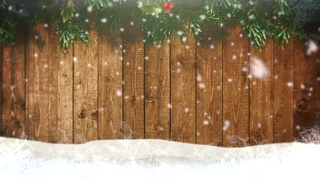 glorious : Animated closeup white snowflakes and wood background. Luxury and elegant dynamic style template for winter holiday
