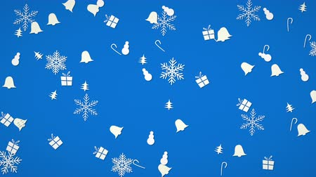 sněhulák : White snowflakes, bells, snowman and gift random motion. Happy New Year and Merry Christmas abstract background. Luxury and elegant dynamic style template for winter holiday