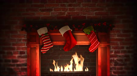 happy socks : Animated closeup fireplace and gifts in the Christmas socks on bricks background. Luxury and elegant dynamic style template for winter holiday Stock Footage
