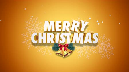 glorious : Animated closeup Merry Christmas text and bells on yellow background. Luxury and elegant dynamic style template for winter holiday