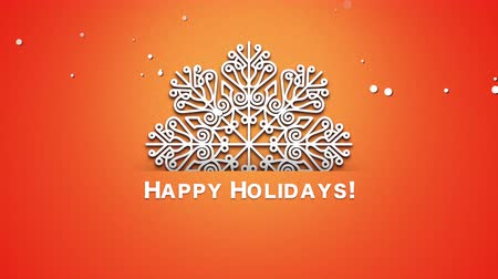 glorious : Animated closeup Happy Holidays text, white snowflakes on orange background. Luxury and elegant dynamic style template for winter holiday