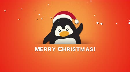dinamika : Animated closeup Merry Christmas text, funny penguin waving on orange background. Luxury and elegant dynamic style template for winter holiday