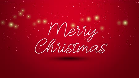 glorious : Animated closeup Merry Christmas text on red background. Luxury and elegant dynamic style template for winter holiday Stock Footage