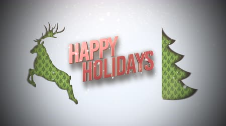 deer : Animated closeup Happy Holidays text, green Christmas tree and deer on snow background. Luxury and elegant dynamic style template for winter holiday Stock Footage