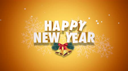glorious : Animated closeup Happy New Year text and bells on yellow background. Luxury and elegant dynamic style template for winter holiday
