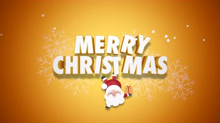 glorious : Animated closeup Happy Merry Christmas text and Santa Claus with gift boxes on yellow background. Luxury and elegant dynamic style template for winter holiday Stock Footage