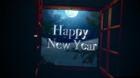 luna nueva : Animated closeup Happy New Year text with open window, away mountains and moon landscape. Luxury and elegant dynamic style template for winter holiday